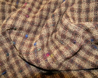 Incredible Italian Wool Fabric In Brown and Biege with Flecks of Color