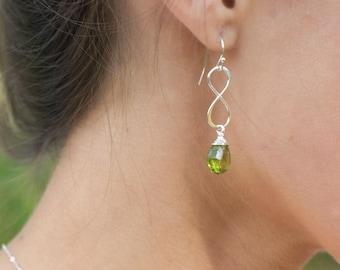 Peridot earrings, august birthstone, sterling silver earrings, infinity jewelry, infinity nearrings, figure eight earrings