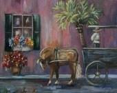 Original Painting Charleston Carriage Horse Buggy Davis