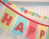 Gingham Fabric Birthday Banner Red, Aqua, Yellow, and Lime Green Picnic  for boys and girls