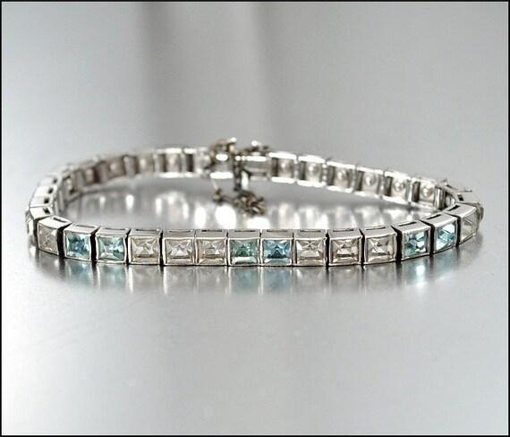 Art Deco Bracelet Sterling Silver Bracelet Rhinestone Vintage Jewelry Aquamarine Dorsons 1930s Antique