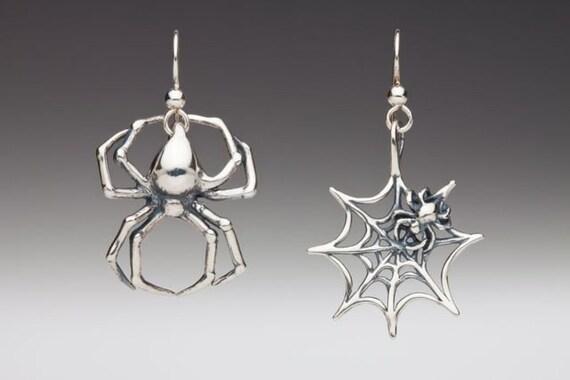 Spider Earrings Silver - Spider Web Earrings - Spider and Web Earrings - Spider Jewelry Silver Spider - Halloween Earrings