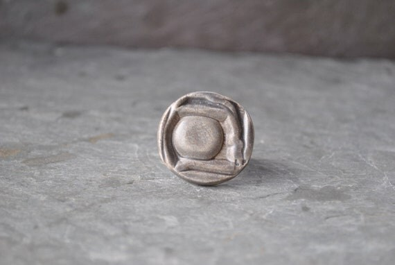 SALE large abstract cocktail ring - cloud gray