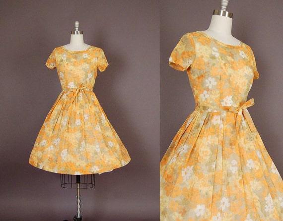 vintage 1950s dress 50s dress full skirt floral cotton sheer day dress