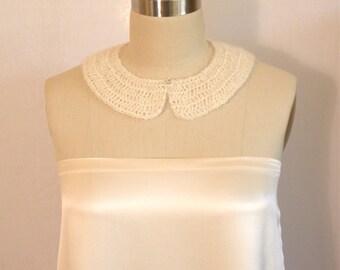 Detachable Collar, Crocheted Collar, Ivory Collar, Mohair Collar, Silk Collar, Neck Warmer, Romantic Collar, Peter Pan Collar, Made in USA