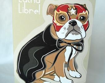 Luchador Bulldog Greeting Card