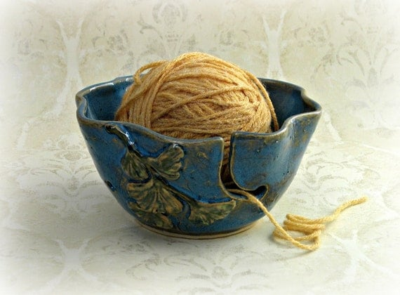 Second- Decorative Yarn Bowl in Mottled Blue with Ginkgo Leaves
