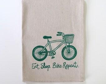 Cotton Kitchen Towel Tea Towel - Bike with Basket - Eat. Sleep. Bike. Repeat design - Choose your ink color