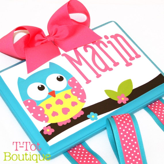 Hair Bow Holder Personalized Custom Hand Painted Boutique Childrens Bow Board Hair Bow Organizer Owl - MEDIUM