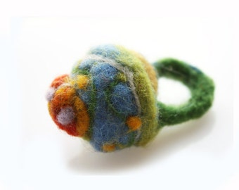 Statement Ring, OOAK handmade pincushion ring, unisex felted ring, needlefelted jewelry, Boho Cocktail Chunky Ring, red blue, whimsical ring