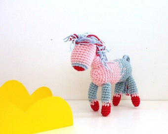 Amigurumi pony, My little Pony baby shower gift, birthday horse, Equestrian self standing toy, crochet Pony miniature, posable teether toy
