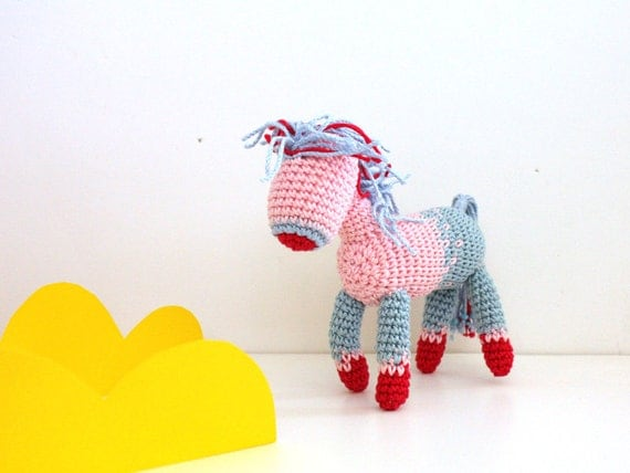 My little Pony plush horse Equestrian self standing crochet Pony miniature toy aqua blue pink blue and red posable doll, baby shower horse
