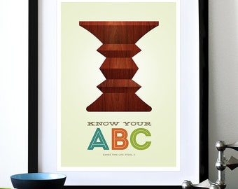 Mid Century Modern poster Eames print Herman Miller vintage furniture kitchen art retro nursery - Know Your ABC C A3