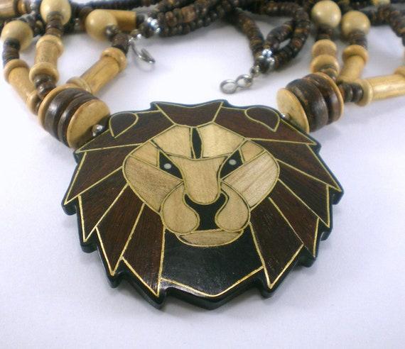 Vintage Lion Head Necklace Wood Jewelry Hawaiian