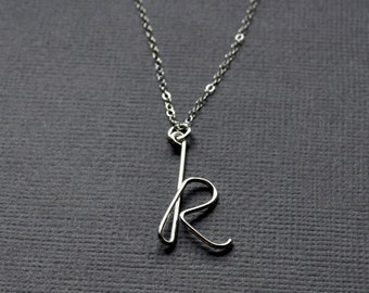 Custom Initial Necklace. Modern Contemporary Simple Sleek Elegant Design. Sterling Silver Jewelry.