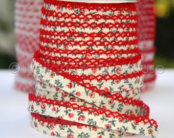 Bias Tape - Beige Floral Cotton and Red Lace Double Fold