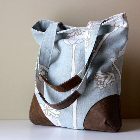SALE Large Summer Tote Leather & Linen Blue Gray Brown and Cream in a Great Modern Floral Eco Friendly