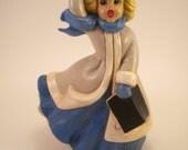 Vintage Atlantic Mold Christmas Caroler - Blue - White - Blond