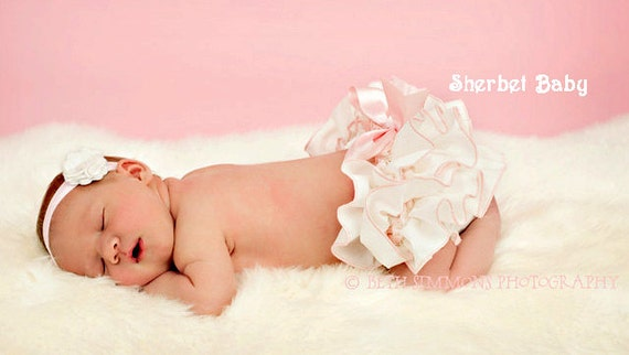 READY TO SHIP Size Newborn Ivory with Pink Edging Pink Bow Sassy Pants Ruffled Bloomer Diaper Cover