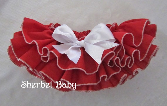 Handmade READY TO SHIP in 2 sizes Red with White Trim Sassy Pants Ruffle Diaper Cover Bloomer Always Handmade
