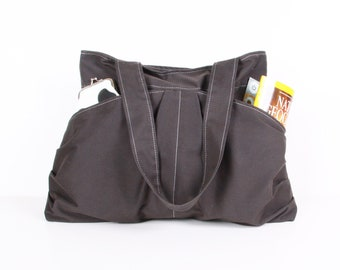 Gray  handbag / Tote bag / Everyday bag /Shoulder Bag /Diaper bag ,large, 10 pockets