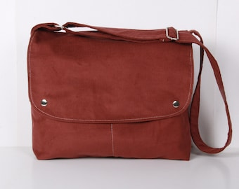 Messenger Bag , Men ,School bag ,Shoulder bag ,Brick color ,tile ,corduroy with Cream lining ,adjustable strap...CITY
