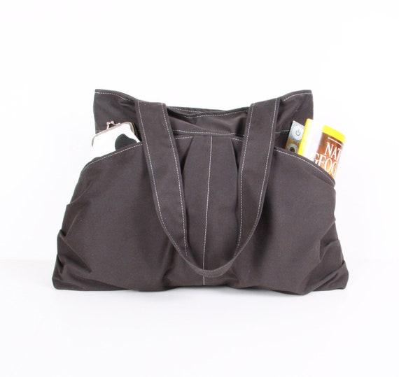 Gray  handbag / Tote bag / Everyday bag /Shoulder Bag /Diaper bag ,large, 10 pockets