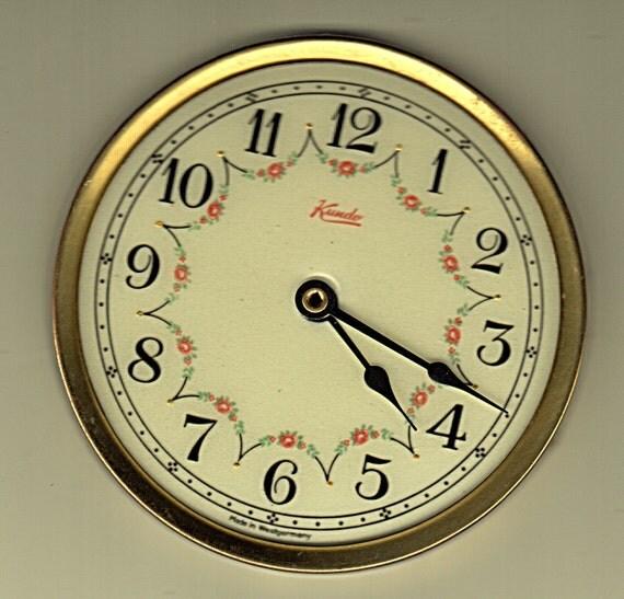 Clock Parts Vintage German Porcelain Enamel Roses Face Brass Frame Hands