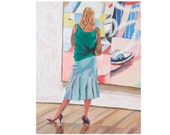 "Fine Art Print 8x10, ""Looking At Rosenquist's Marilyn"" at MOMA Painting by Gwen Meyerson - GwenMeyerson"