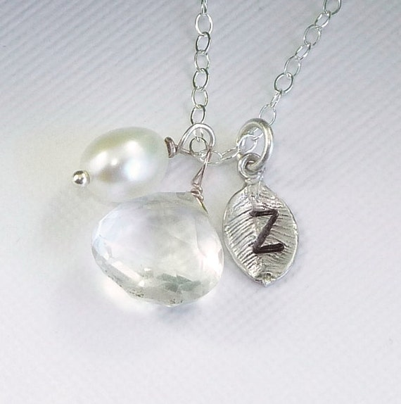 Personalized Jewelry Initial Leaf Gemstone Pearl Charm Necklace - Tokens Of Love - Handmade Wedding Christmas Jewelry