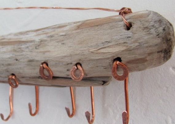 Driftwood Hanging Jewelry Sculpture Art form Display, Copper Hook Display, Key Rack.