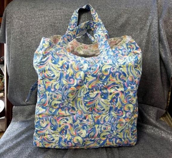 Cotton Shopping Tote Bag, Sunlight Waves Print