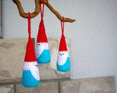 Crocheted Christmas ornaments / set of three Santa
