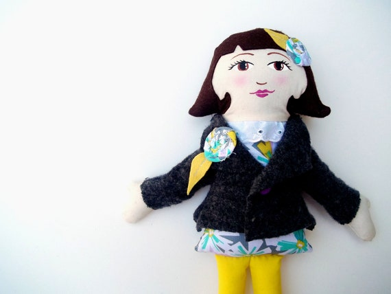 Fabric Doll Brunette Yellow and Grey