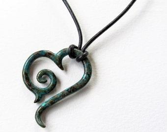 Blue Caribbean Sea Tribal Heart Pendant