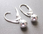 Ball Earrings with Leverback Earwires, Sterling Silver Earrings with Shiny Ball Drop, European Secure Leverback earwires
