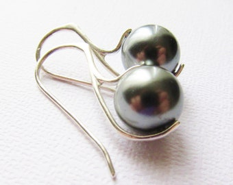 Tahitian Glow Pearl Earrings, South Sea Sterling Silver 925, Dark Silver Pearls, Pearl Earrings, Sleek Earrings, Custom colors