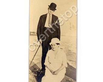 Vintage Photo 1910s Couple Seaside Beach Holiday Early 20th Century