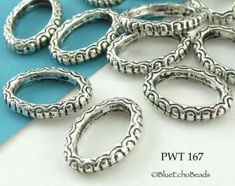 17mm Decorative Oval Pewter Jump Ring Connector Closed Large (PWT 167) 12 pcs BlueEchoBeads