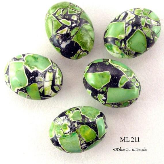 Green Mosaic Turquoise Oval Stone Beads (ML 211) blueecho 5 pcs