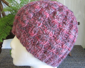 Handspun Cable Beanie. Handspun Yarn. Knit Hat. Knit Hats for Women. Pink and Gray. Hot Pink. Heather Grey. Merino Wool. Beanies for Women.