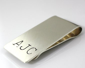 Personalized Hand Stamped Sterling Silver Money Clip