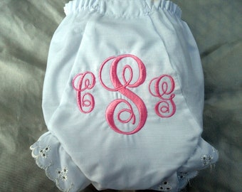 Custom Boutique Monogrammed Personalized Girly Diaper Cover with Eyelet Lace Edging.