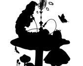 Who Are You - Alice and the Caterpillar - 8x10 Original Silhouette