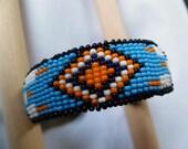 Beaded Cuff Bracelet- Sky Feather