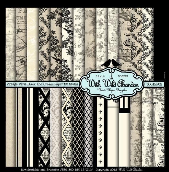 Black and Cream Paper Vintage Paris , Damask, Argyle, Floral and Birds Digital Printable Total 26 12x12 Paper