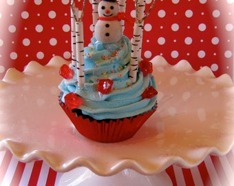 "Fake Cupcake ""Holiday Song Collection"" Limited Ed. ""Parson Brown Snowman"" 12 Legs Original Fab Holiday Gift Can Be Made Into An Ornament"