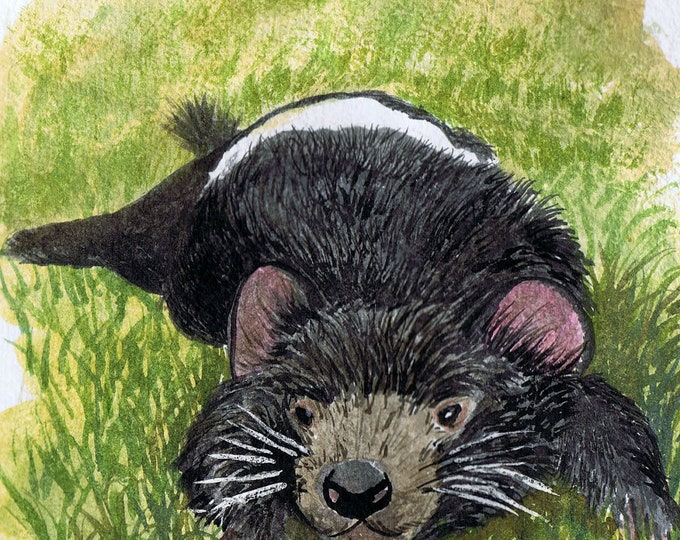 Tasmanian Devil  Original watercolour By Cindy Watkins Photographic print on card. Blank Gift Card.