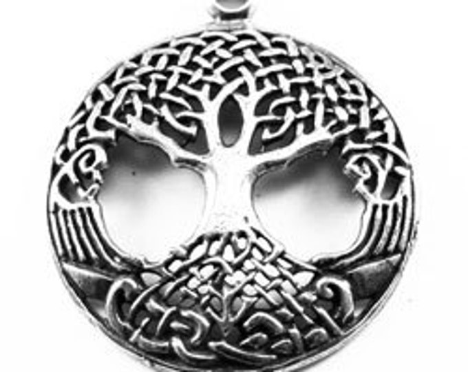 2 x Domed Tree Of Life - 1 bail  Australian pewter pendant z725