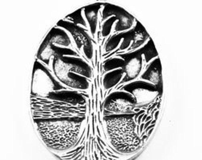 Oval Tree Of Life - 1 bail  Australian pewter pendant Z728